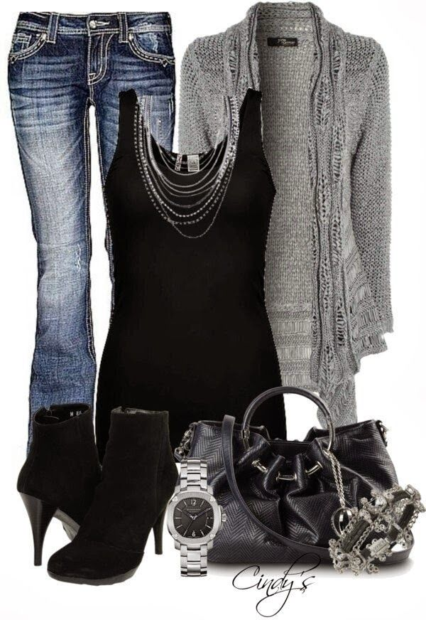 Very attractive fall outfit with top, cardigan, jeans and heels
