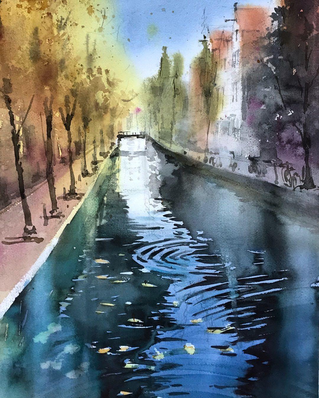 Autumn In Ams Amsterdam Bridge 1hour Watercolor Aquarelle