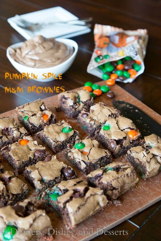 Pumpkin Spiced M&M Brownies | Dinners, Dishes and Desserts