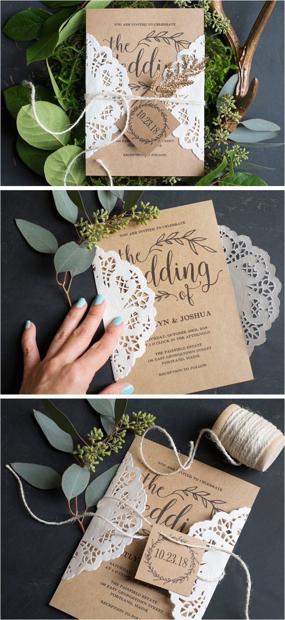 Vintage Wedding Invitation Rustic Wedding invitation Set