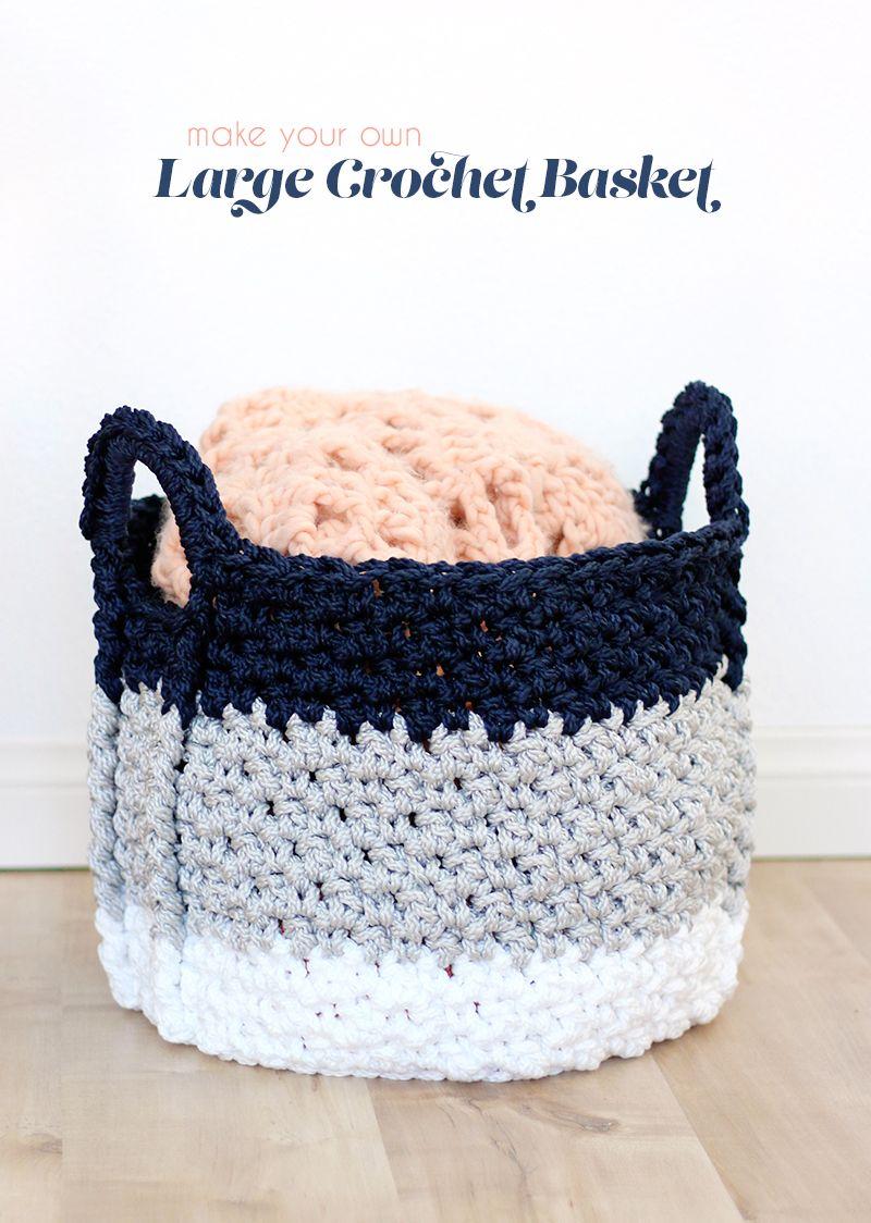 Large Crochet Basket with Handles - Free Crochet Pattern | Mesas de ...