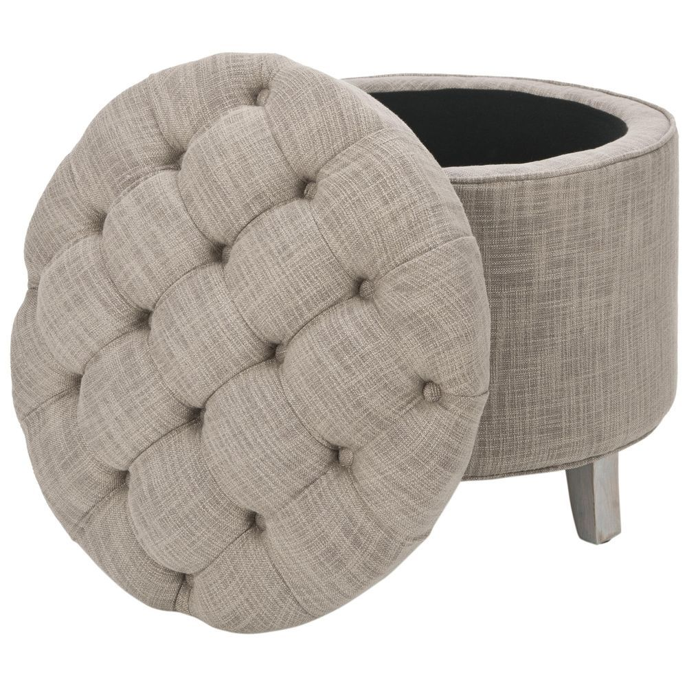 foot rests for living room%0A Bench Storage Ottoman Grey Fabric Furniture Round Coffee Table Seat Foot  Rest