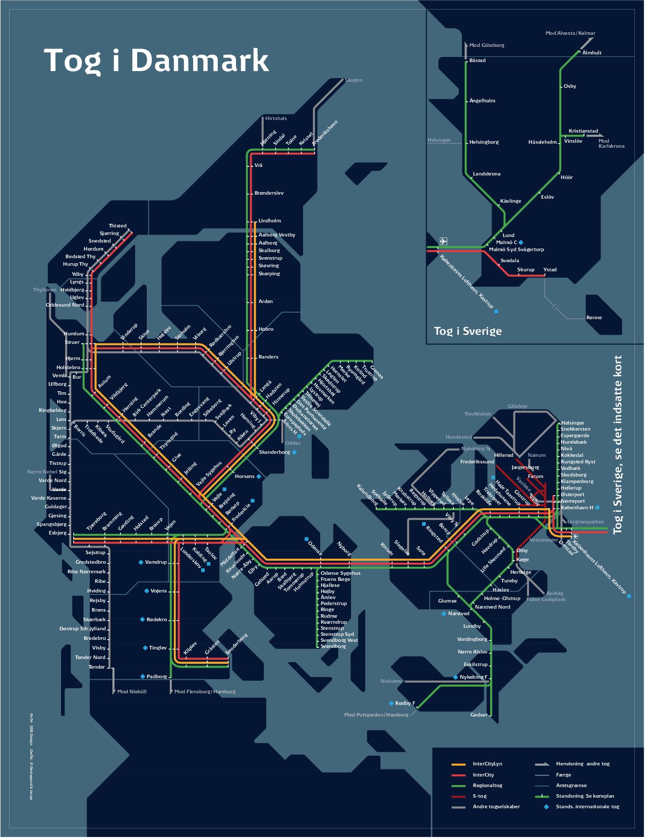 Map of Danish Rail Network Denmark Pinterest Danish