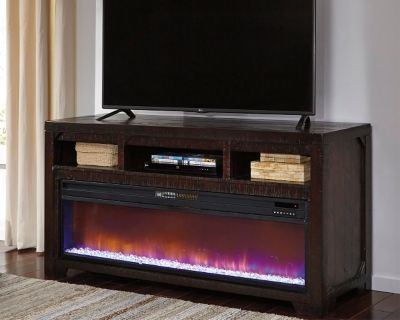 Rogness 63 Quot Tv Stand With Electric Fireplace Dark Brown