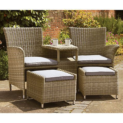 Royalcraft Wentworth Garden Love Seat With Footstools Rattan