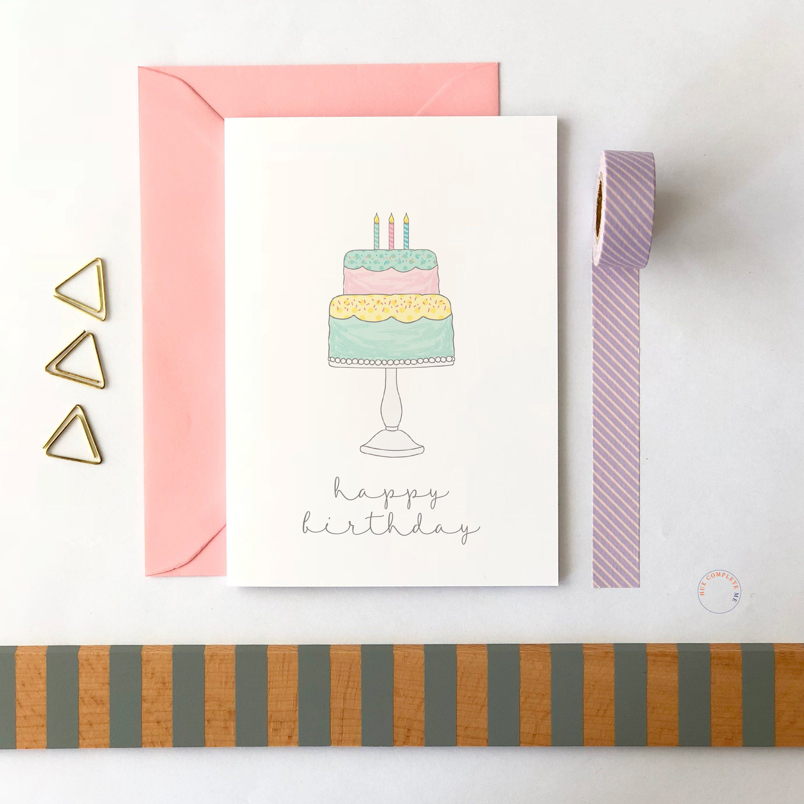 Birthday Cake Card Birthday Cake Happy Birthday Card Cute