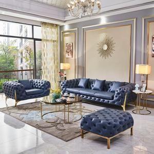 Luxury Design Blue Sofa Set Ek Chic Home In 2020 Living Room Sofa Design Living Room Design Modern Blue Living Room Decor