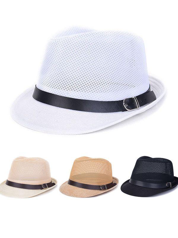 a49058c14f810 Men Women Hollow Out Mesh Top Hat Casual Braid Fedora Beach Sun Flax Panama  Jazz Hat