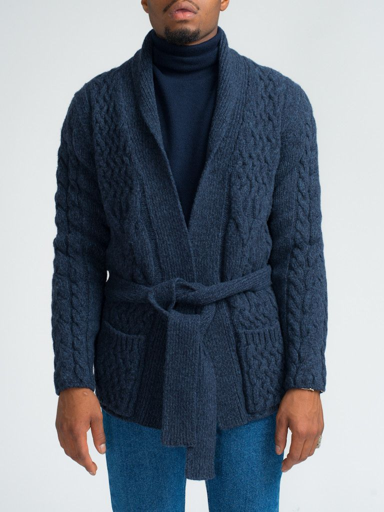 EIDOS NAPOLI WOOL CABLE KNIT BELTED CARDIGAN - NAVY - GENTRY NYC ...