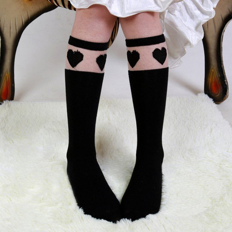 494db609ded Baby Kids High Knee Socks School Cartoon Cat Lace Solid Stockings Leg Warmer  For Girls