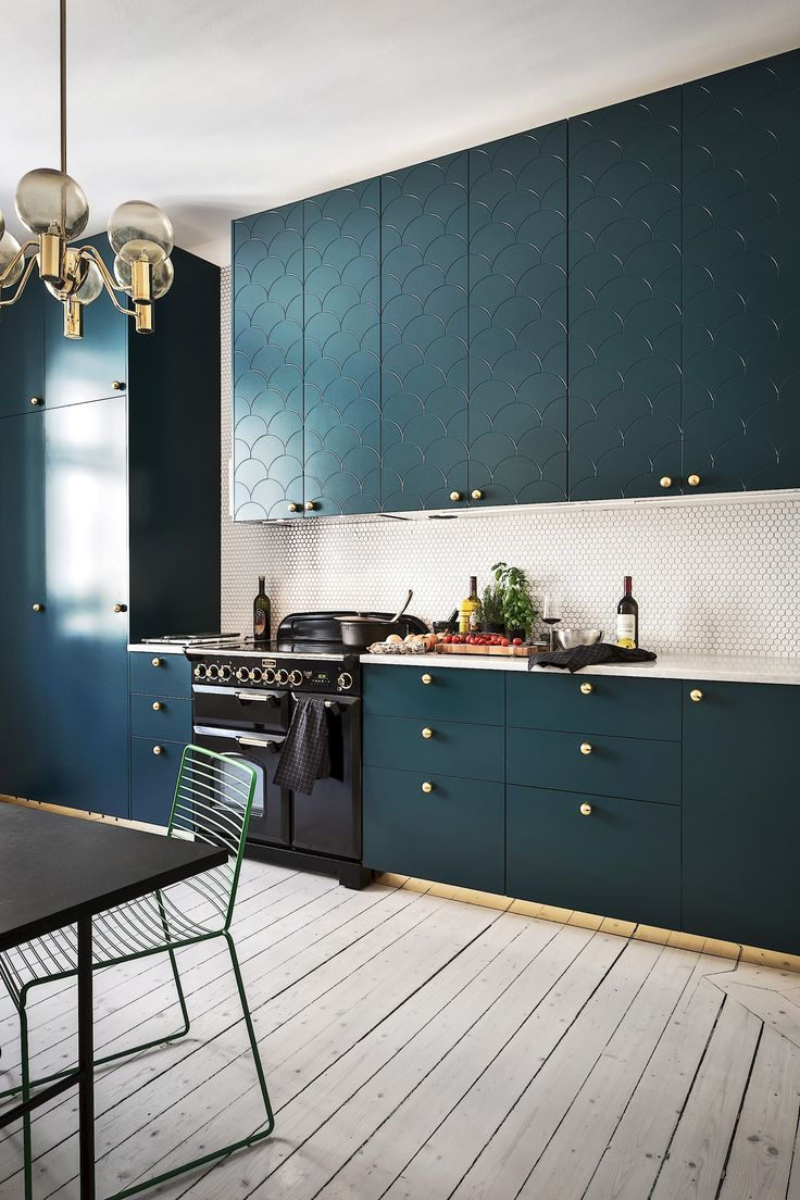 teal kitchen cabinets with gold accents Vackert