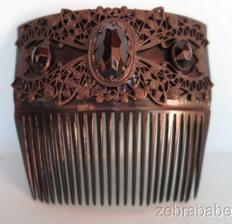 Antique Vintage Hair Comb Black French Jet | eBay