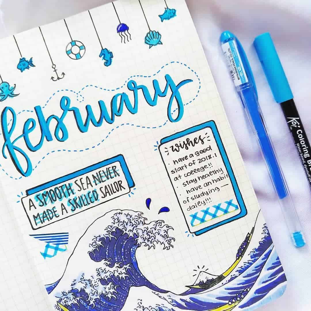 25+ Pretty Blue Bullet journal spreads | My Inner Creative