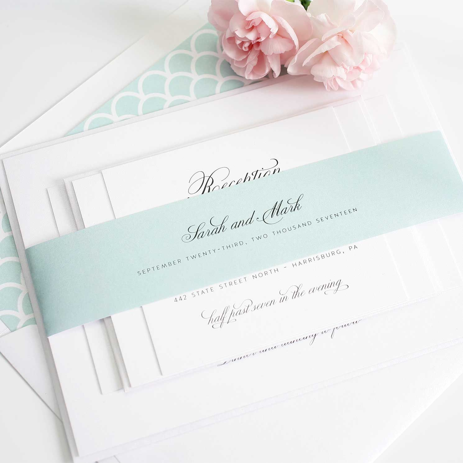 Modern Vintage Wedding Invitations in Black on