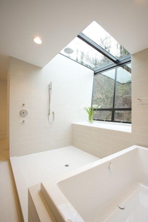 attic bathroom window shower bath tub decor white rh pinterest com