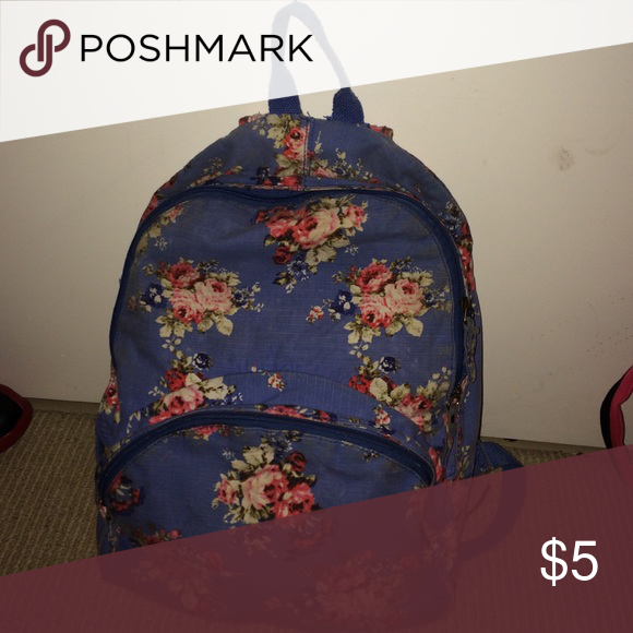 Flower Print Blue backpack Okay Condition Mossimo Supply Co. Bags Backpacks
