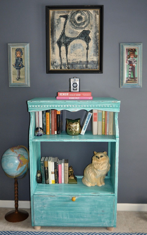 Vintage Shelf Bookshelf Entertainment Center In Mermaid By CookiesTreasureTrove On Etsy