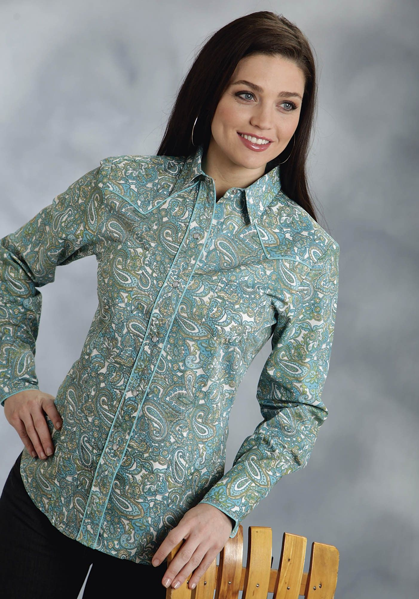 5889290354 Roper® Women s Turquoise Asbury Paisley Long Sleeve Pearl Snap Western Shirt  oh my gosh I love love this one!!