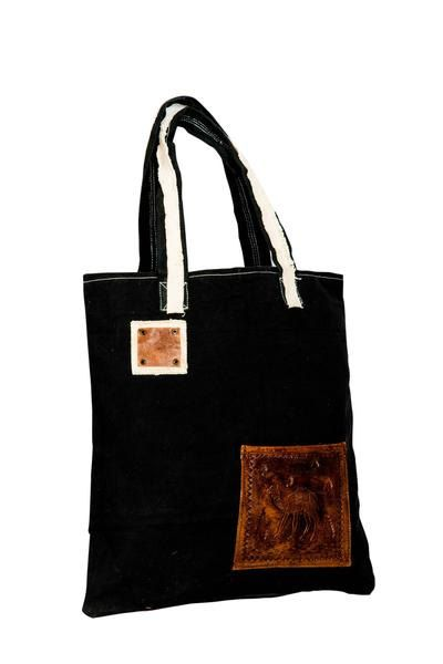Canvas tote bag with leather patch - Hand carved leather patch ... d30c65ed5e