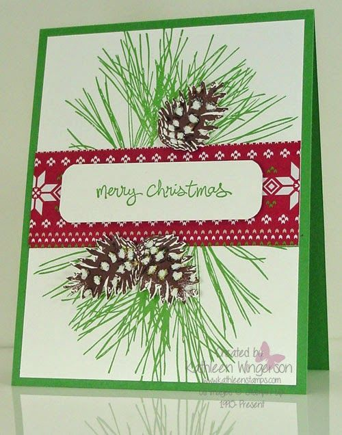 KathleenStamps: Workshop Preview #3 -- Ornamental Pine Merry Christmas Card -- Stampin' Up!