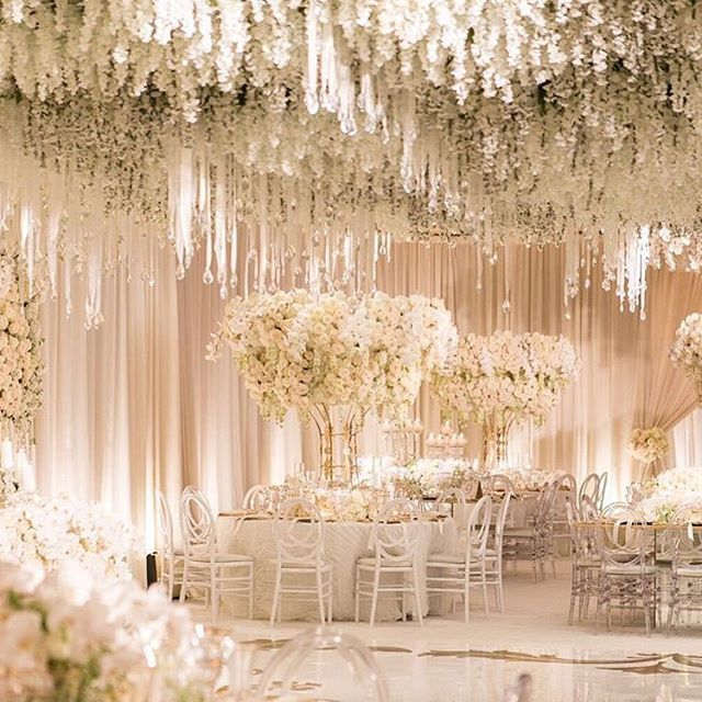 Wedluxe Media On Instagram We Re Blown Away By The Magnificent Floral At This California Wedding Th Wedding Decorations Flower Ceiling Extravagant Wedding