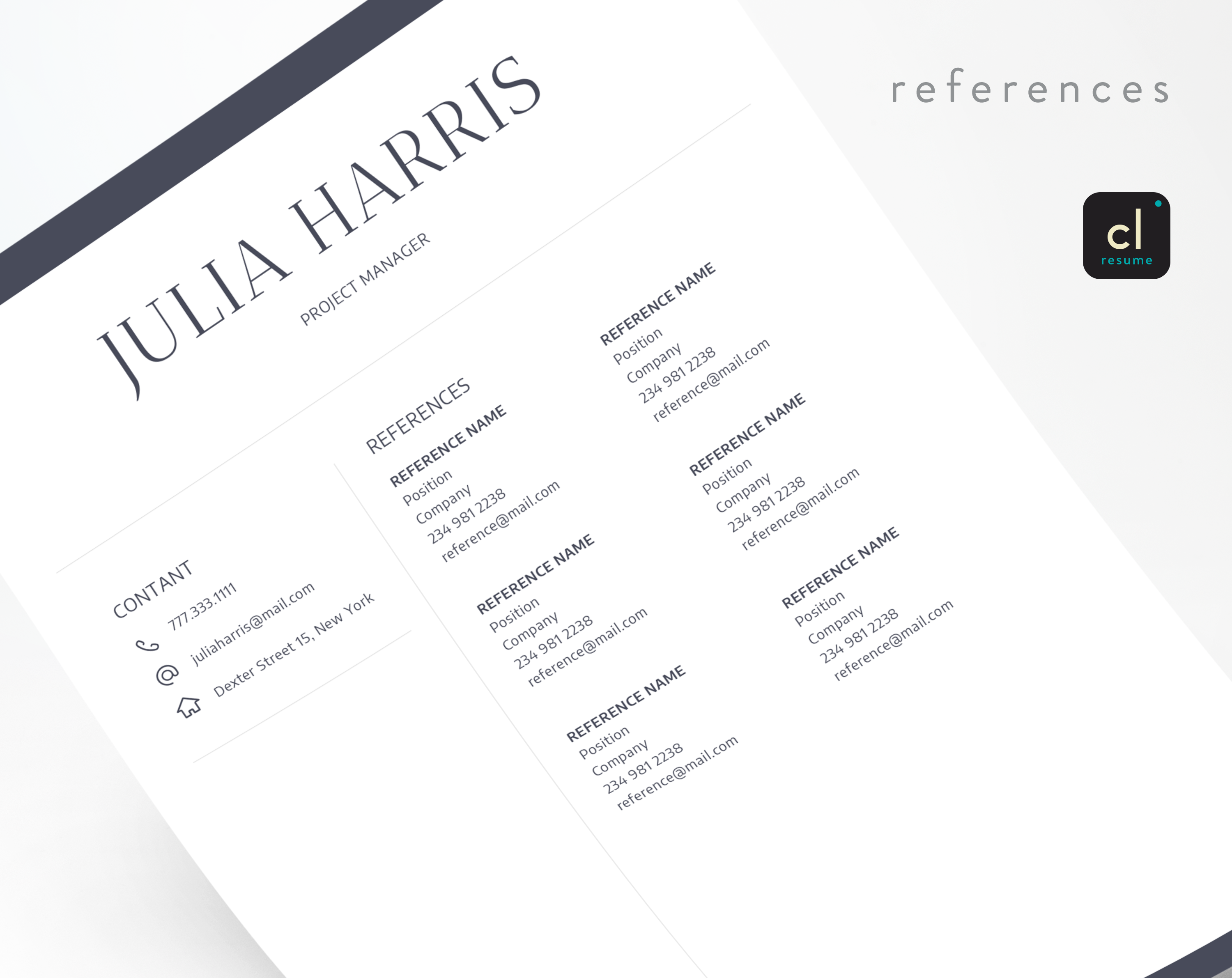 References Page Resume Cv Template  References Page  Modern Resume Template For Word .