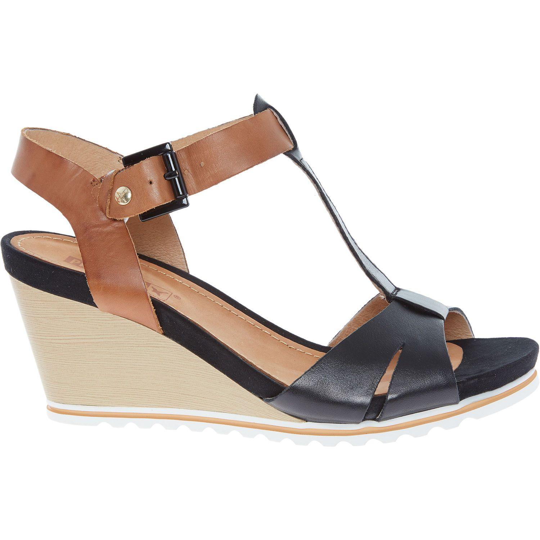 308a84df8de Black Wedge Heel Leather Sandals - Heels - Shoes - Women - TK Maxx ...