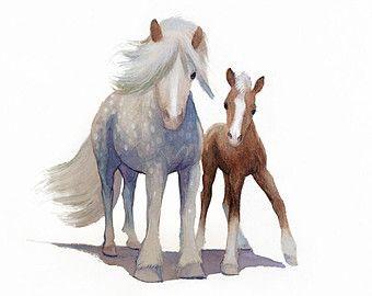 art aquarelle cheval cheval aquarelle dessin peinture art bleu et blanc cadeaux - Cadeau Cheval