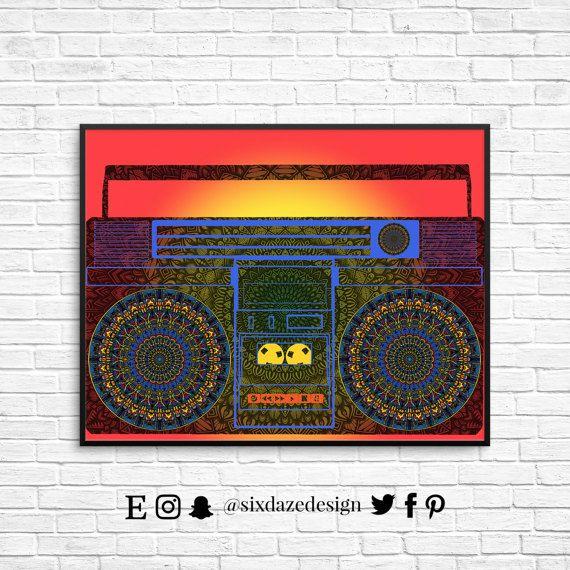 Blast Boombox Wall Print Music Wall Art Ghetto By Sixdazedesign Music Wall Art Music Print Music Wall