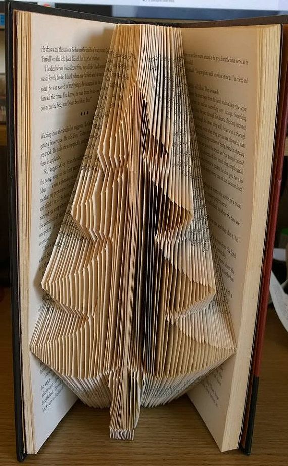 Book Folding Pattern Christmas Tree 173 Folds Measure Etsy Book Folding Patterns Folded Book Art Book Folding