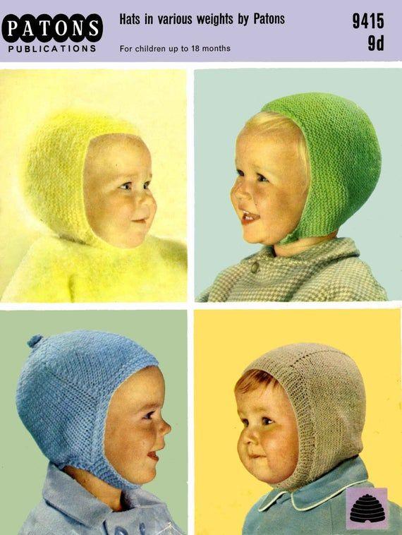 Vintage Childrens Helmets and Balaclarvas, Knitting ...