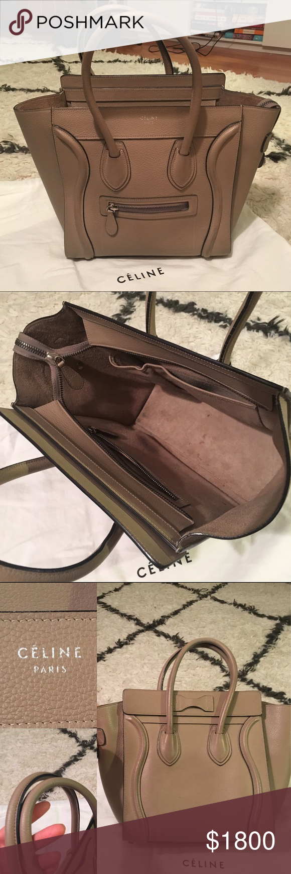 💯Celine Micro Dune Authentic TRUSTED SELLER. Authentic. Gently used w/ minor signs of darkening at bottom & faintly at the back side as shown. Handles are in great condition with very faint darkening on the top side and darker on the underside (not visible when carried unless you turn it upside down). Comes only with dust bag, can't find cards. Extremely light wear at corners. Happy to post more pics, just ask! Retail $3400 + tax ($3714 @ 9.25%) Celine Bags