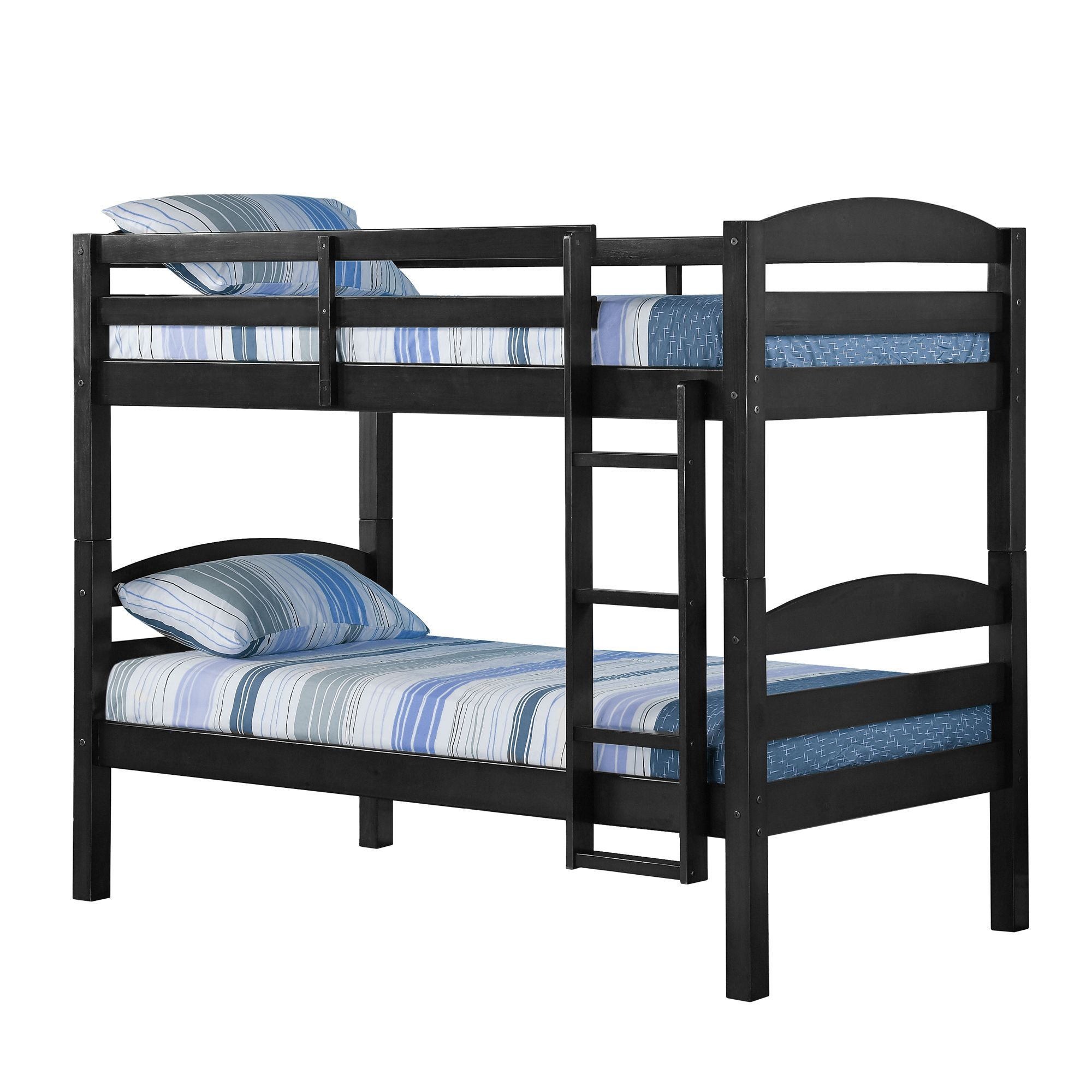 Solid Wood Black Twin over Twin Bunk