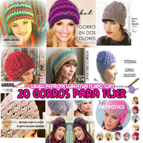 20 patrones y tutoriales de gorros tejidos para mujeres | ganchillo ...
