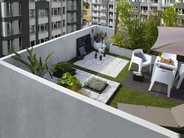 Bodenbelag Dachterrasse dachterrasse balkon gestaltung ideen stein kunstgras boden