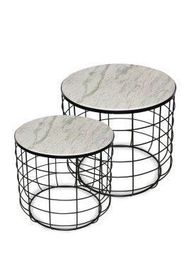 Deja Black & Stone Set of 2 Tables