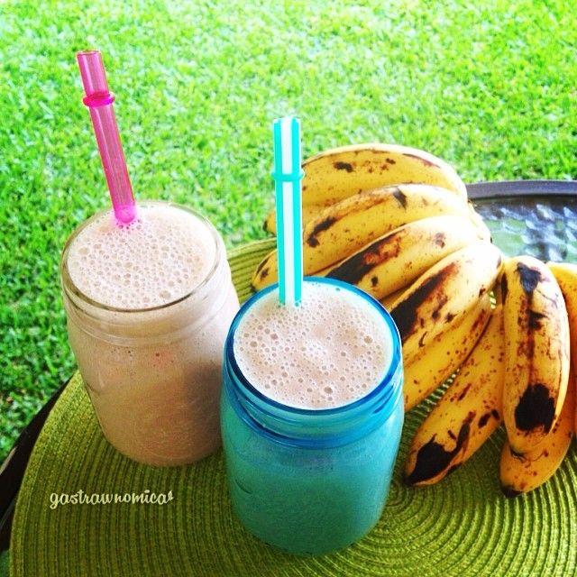 ¡Salud!    Banana-maca batido helado  10 Pequeños Plátanos Como el los ilustrados (Conocido Como el banano dominicano en mi área) en ...