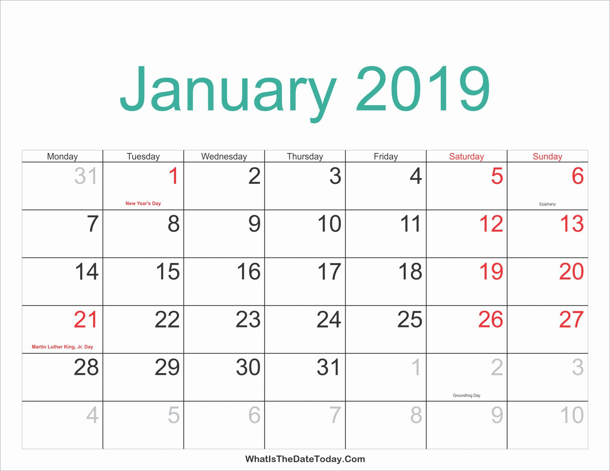 Printable January 2020 Calendar Monthly Template Download