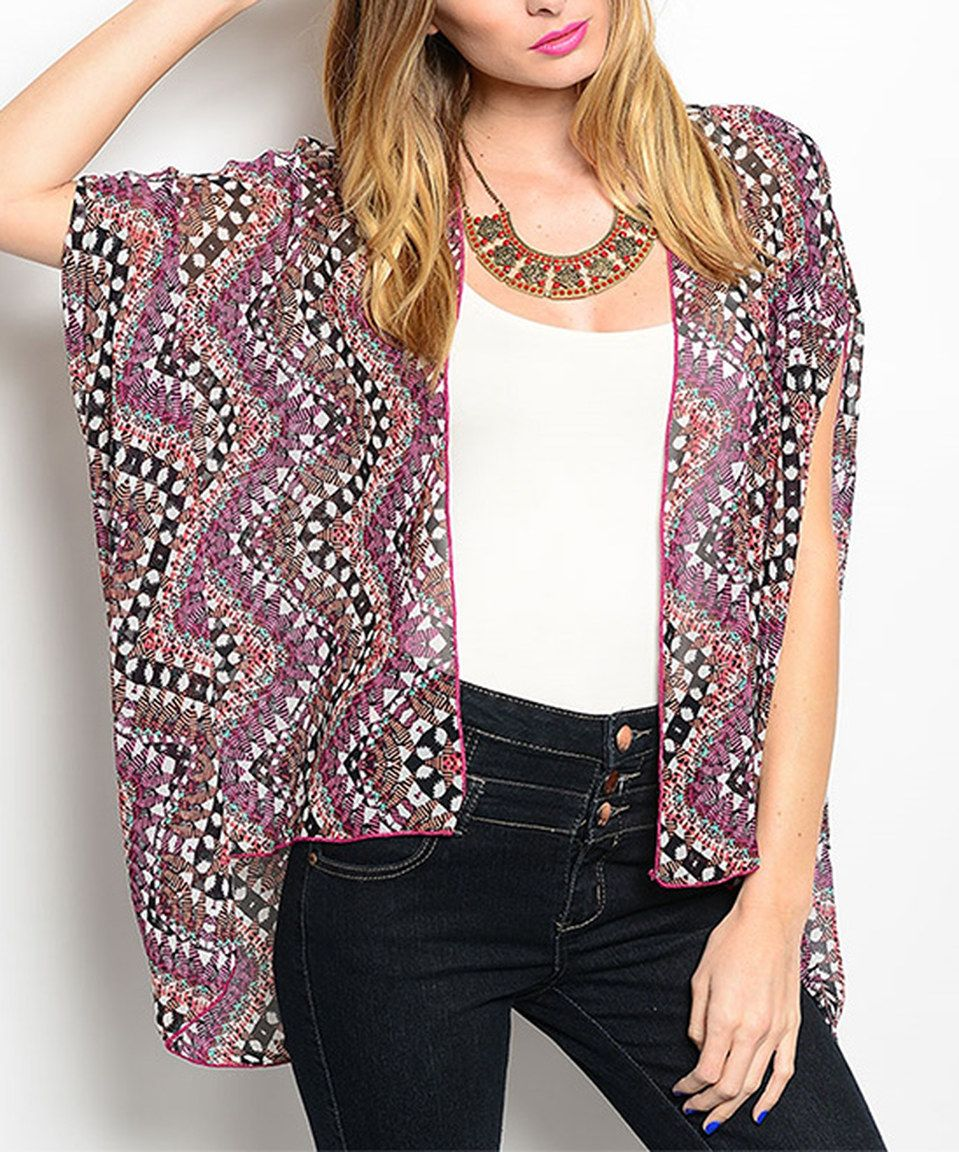 Another great find on #zulily! Black & Magenta Sheer Arabesque Cardigan by Buy in America #zulilyfinds