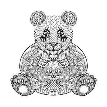zentangle: Dibujado a mano Panda tribal, tótem animal adulto para ...