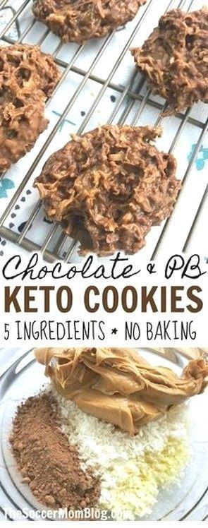 Schokolade & Erdnussbutter Keto No Bake Cookies | Keto-Rezepte - New Ideas #peanutrecipes