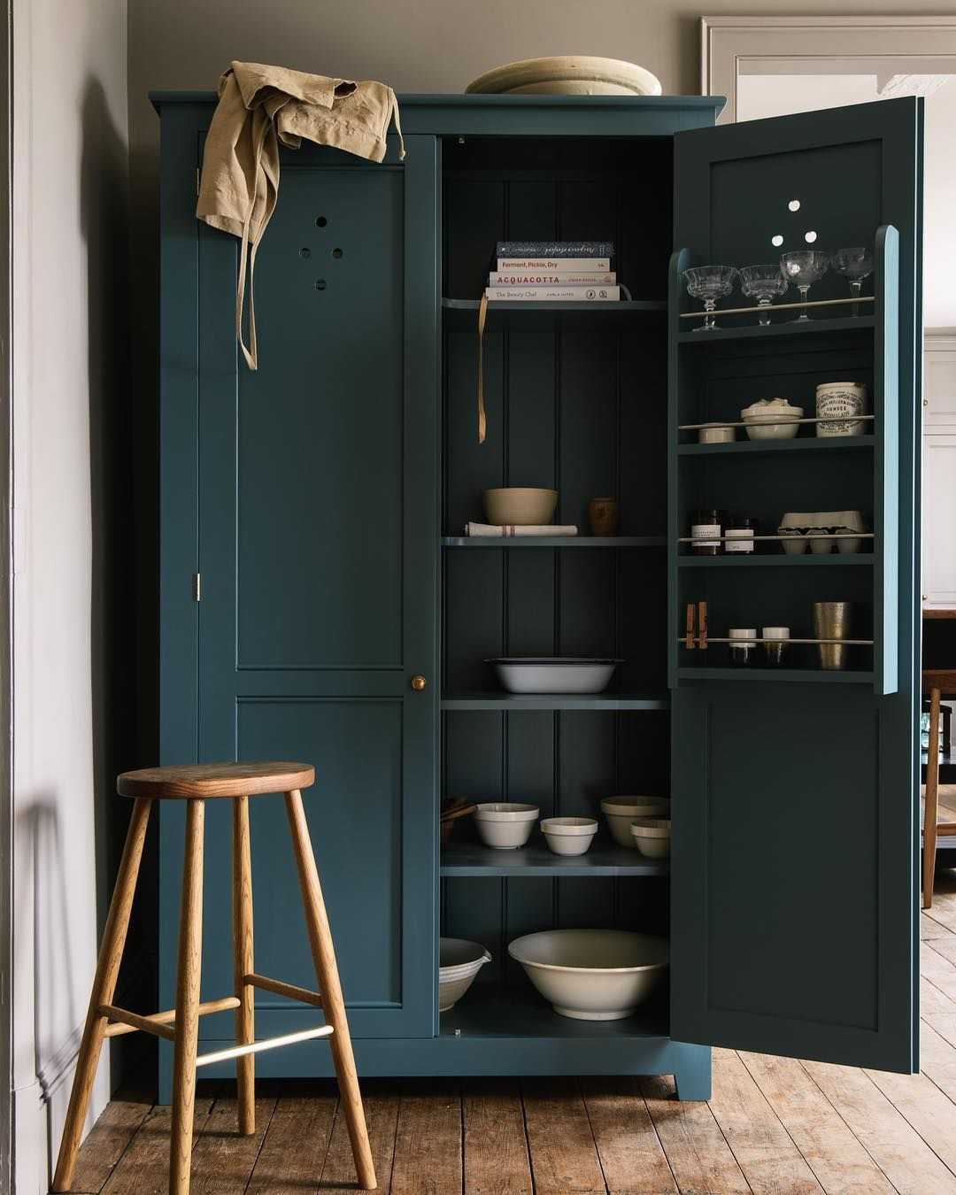 Kitchen Cupboard Painters Leicestershire Stand Alone Wooden Larder Cupboard Painted In Teal Home In 2019