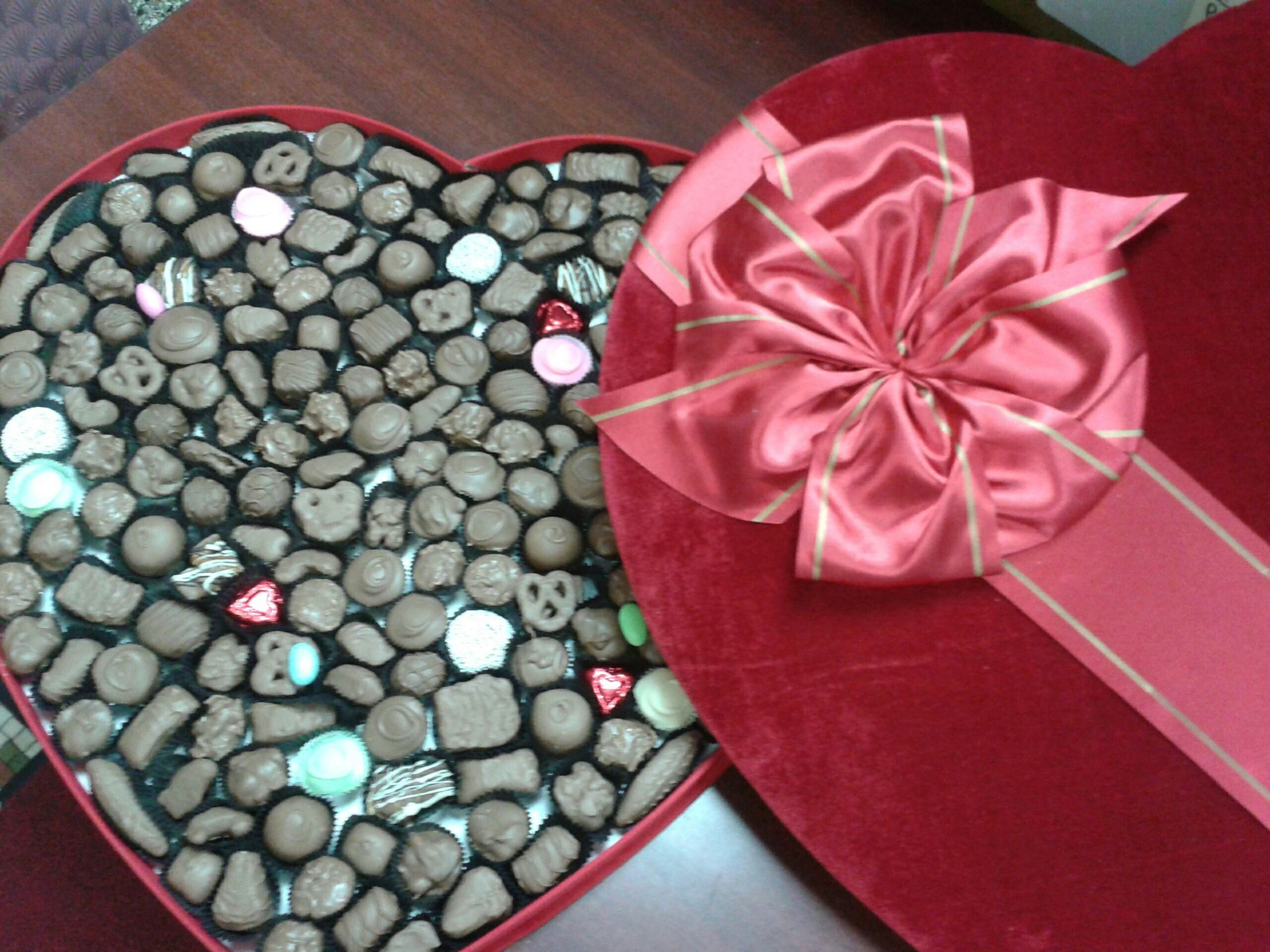 5 pounds of chocolate in a heart shaped gift box!  www.dunmorecandykitchen.com