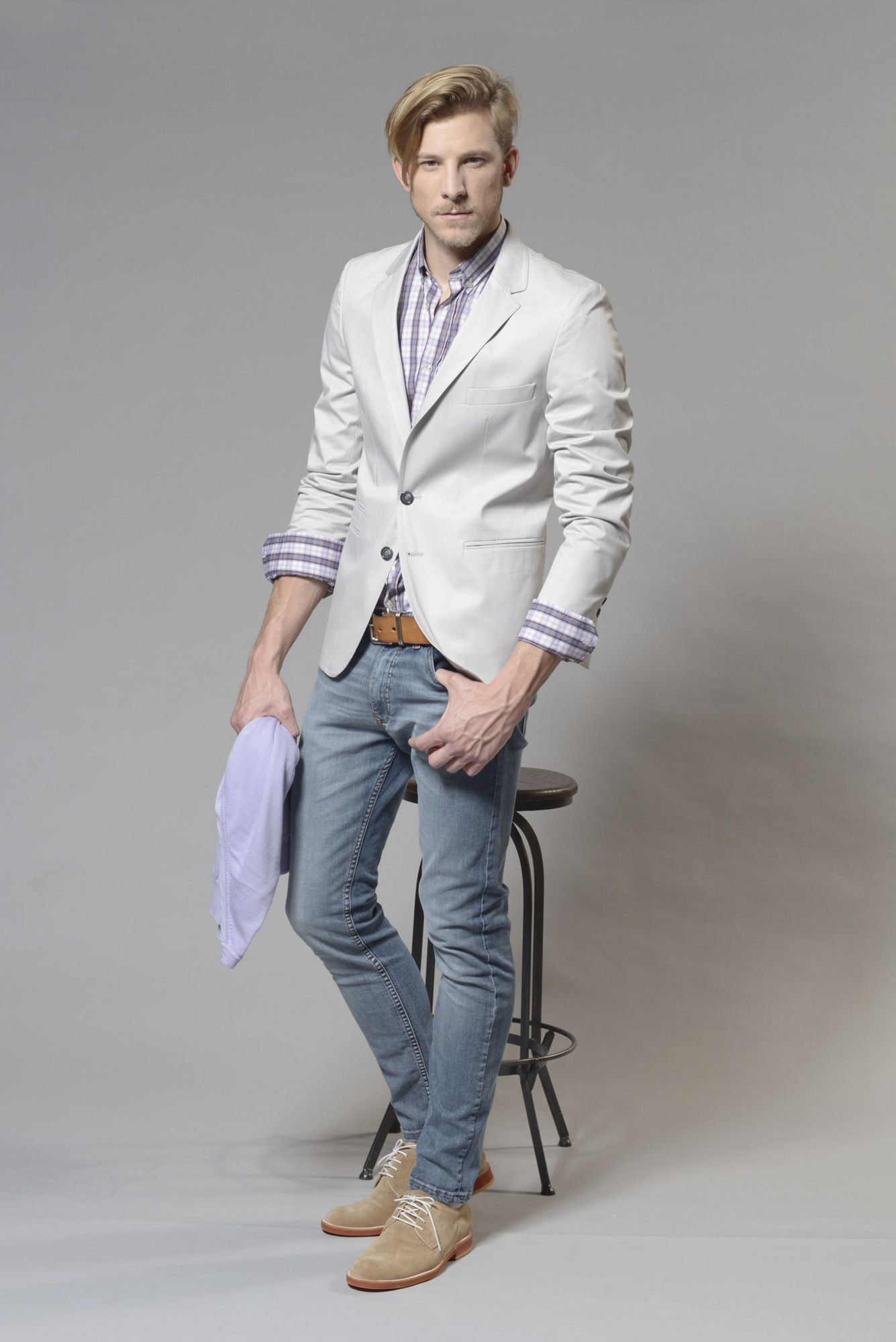 889b477089dfc  Look04 · Camisa Calpe cuadros Violeta · Sweater hilo algodón Lila cuello  en V ·