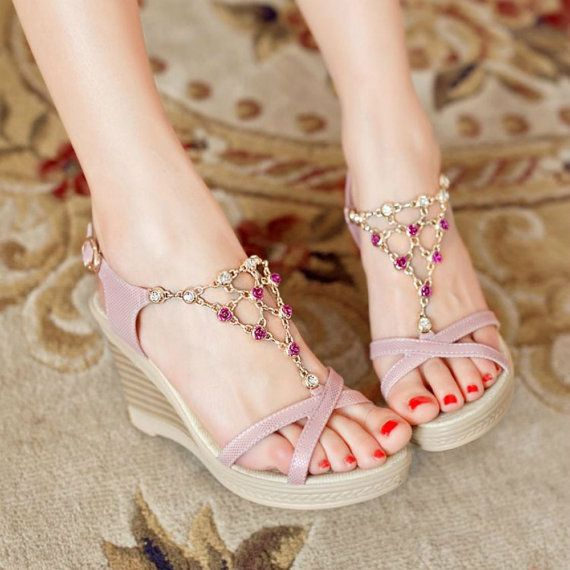 Elegant+Pink+Rhinestone+Design+Wedge+Heels+by+AriandelleBoutique,+$65.50