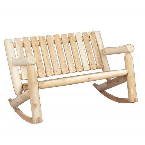 rustic natural cedar low back double rocker rocking chair rh pinterest fr