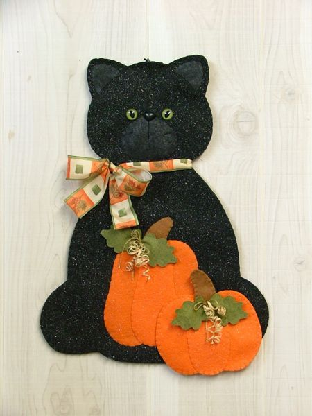 """The Cat in the """"Pumpkin"""" Patch Wall Hanging"""