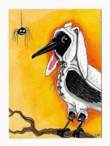 LWick Original ACEO Art Halloween animal crow raven bird bunny costume spider