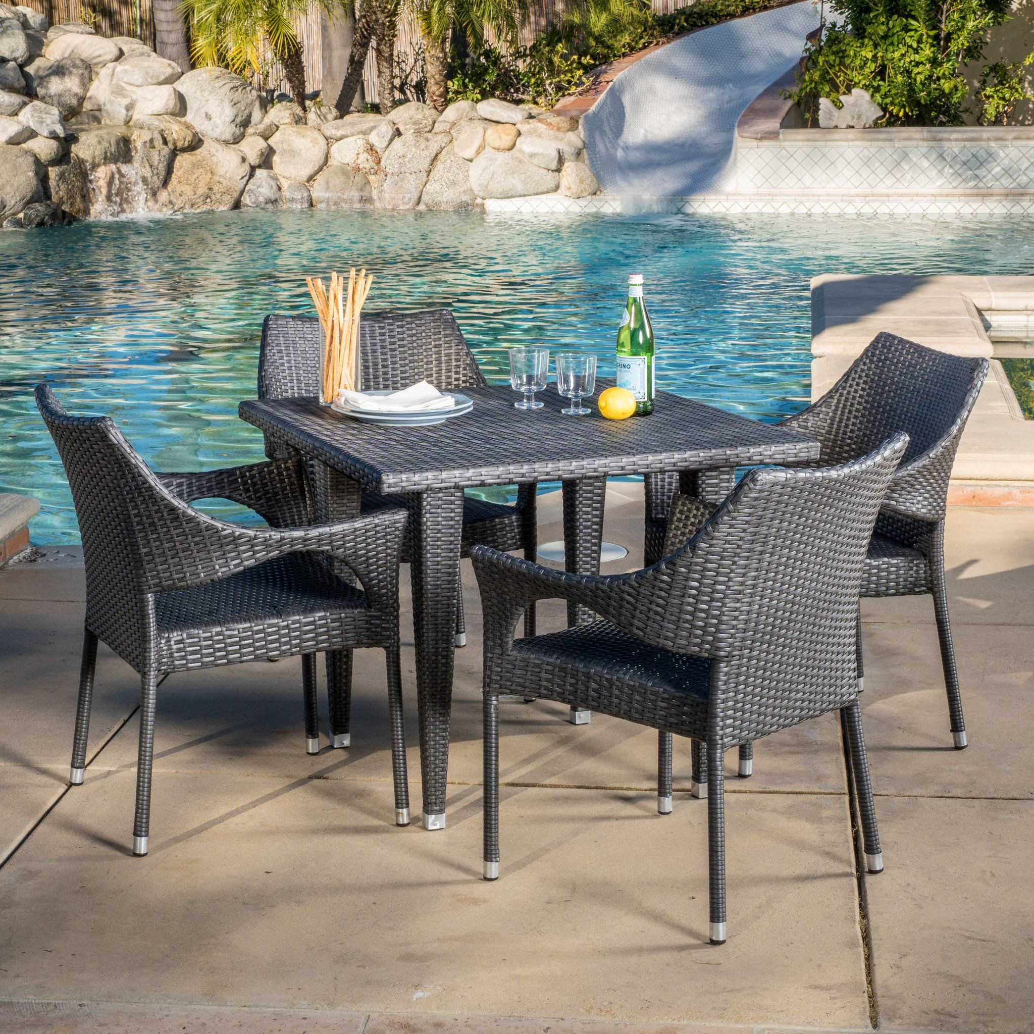 alameda outdoor 5 piece grey wicker dining set dining sets and rh pinterest com
