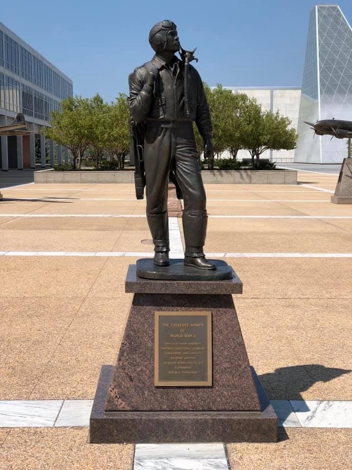 The monument to the Tuskegee Airmen prominently located in